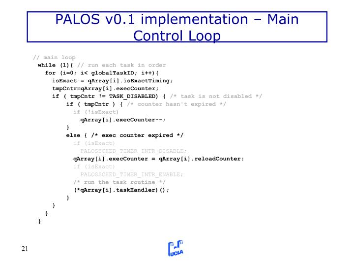 PALOS v0.1 implementation – Main Control Loop