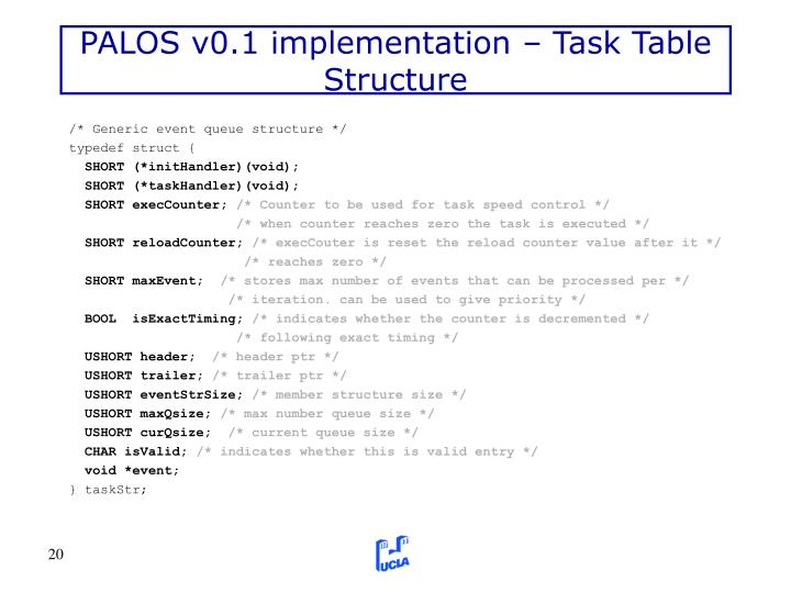PALOS v0.1 implementation – Task Table Structure