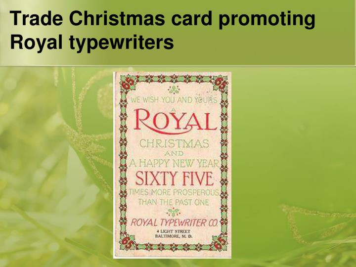 Trade Christmas card promoting Royal typewriters