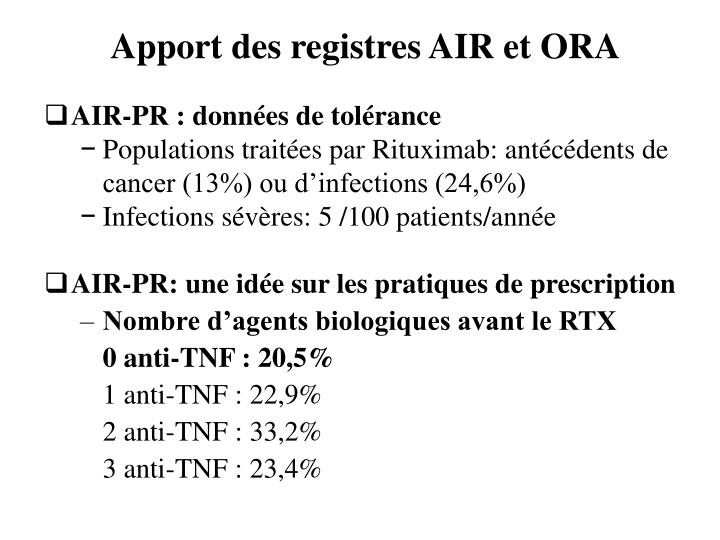 Apport des registres AIR et ORA