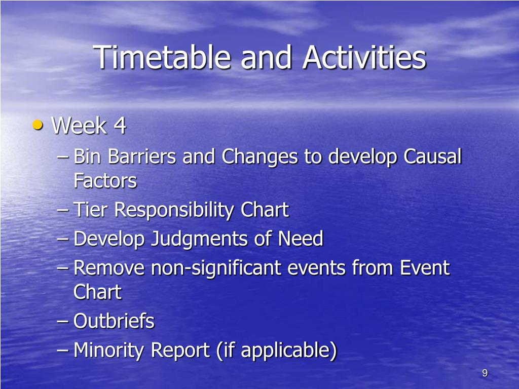 Timetable and Activities