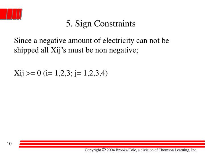 5. Sign Constraints