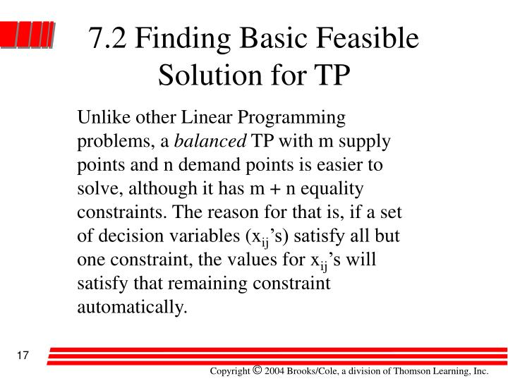 7.2 Finding Basic Feasible Solution for TP