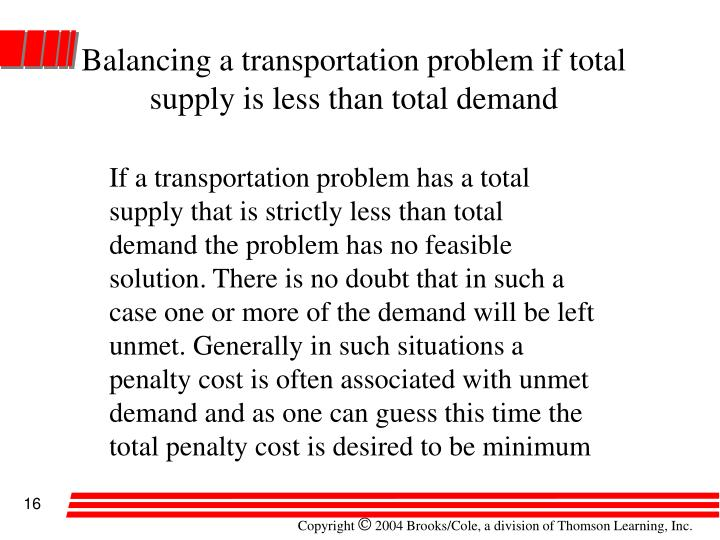 Balancing a transportation problem if total supply is less than total demand
