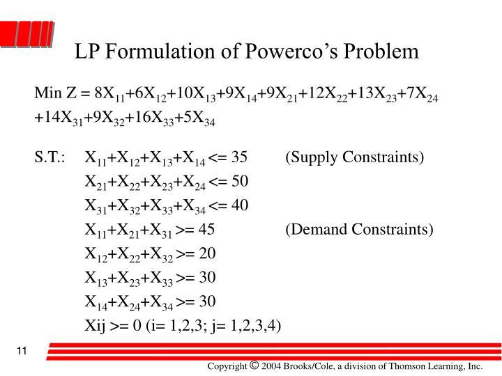 LP Formulation of Powerco's Problem