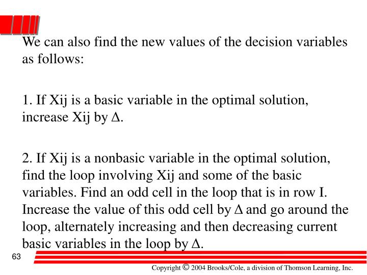 We can also find the new values of the decision variables as follows: