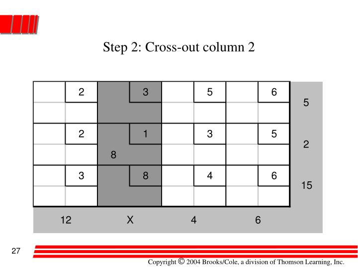 Step 2: Cross-out column 2