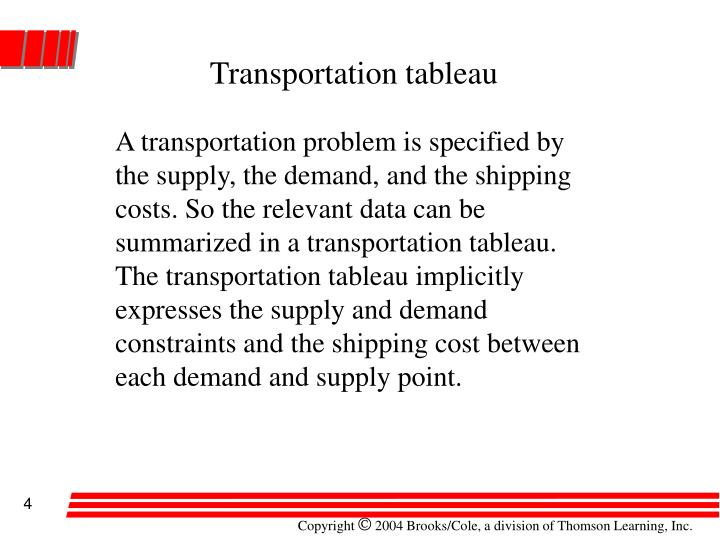 Transportation tableau