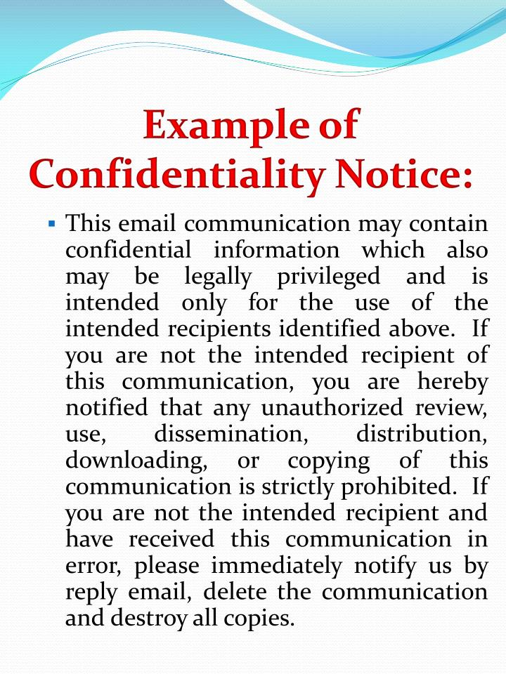 Example of Confidentiality