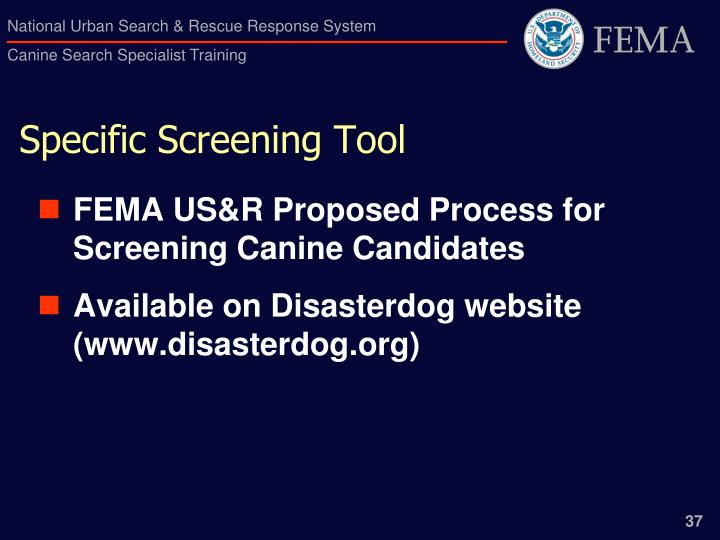 Specific Screening Tool
