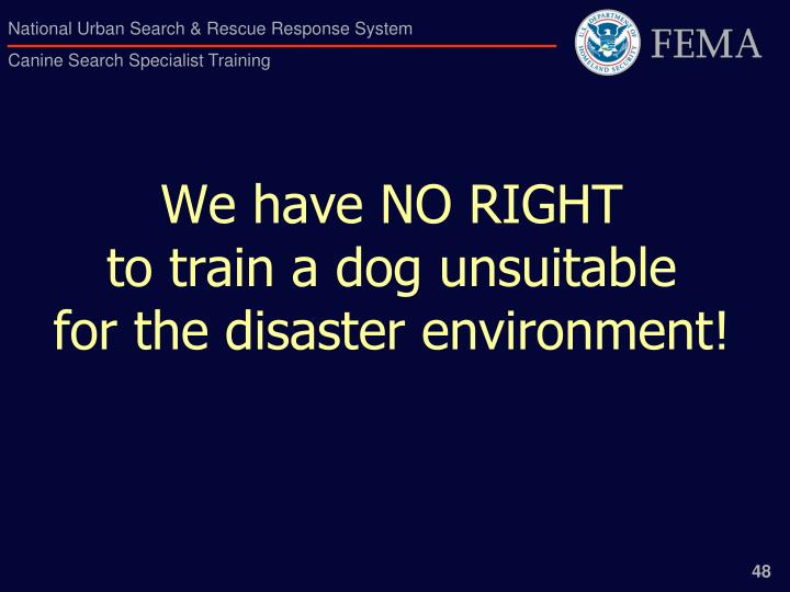 We have NO RIGHT                           to train a dog unsuitable                for the disaster environment!