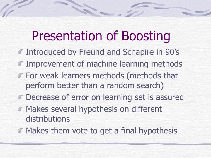 Presentation of Boosting
