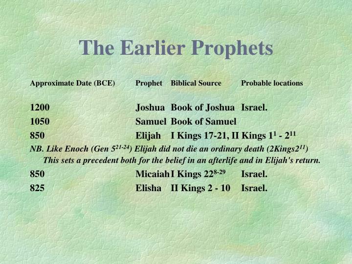 The Earlier Prophets