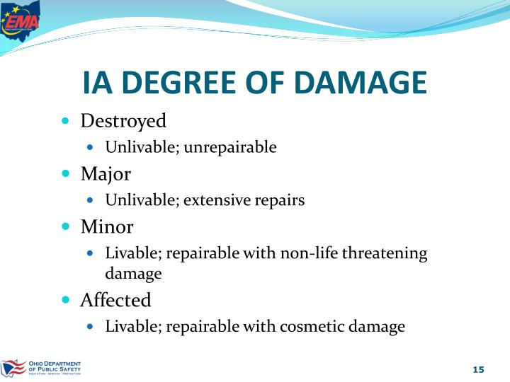 IA DEGREE OF DAMAGE