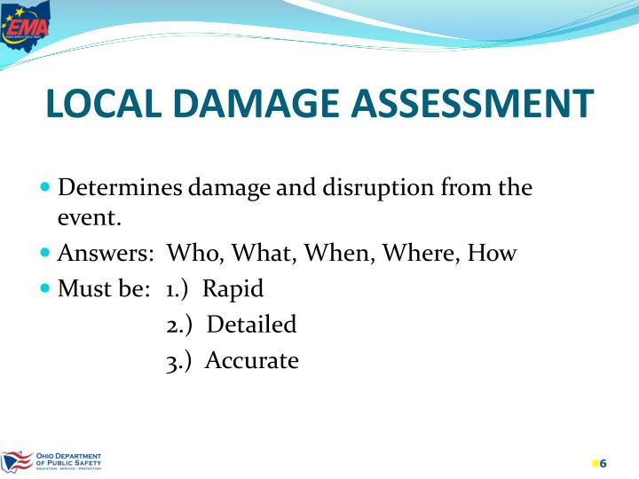 LOCAL DAMAGE ASSESSMENT