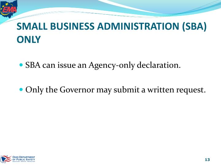 SMALL BUSINESS ADMINISTRATION (SBA) ONLY