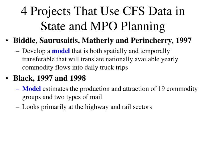 4 Projects That Use CFS Data in State and MPO Planning