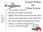 freight within the urban system