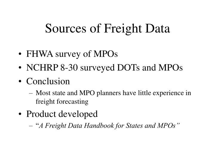 Sources of Freight Data