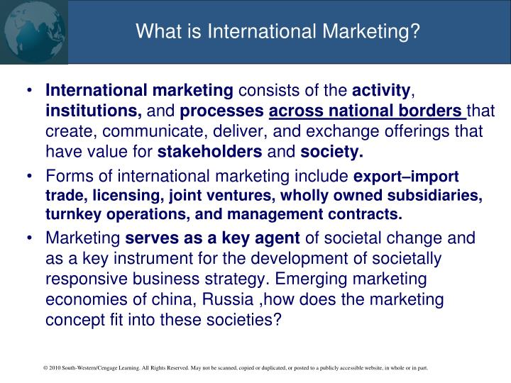 What is international marketing