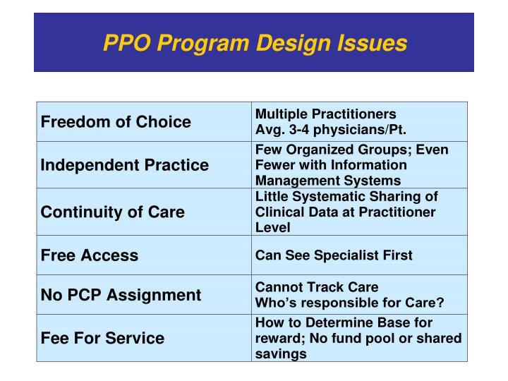 PPO Program Design Issues