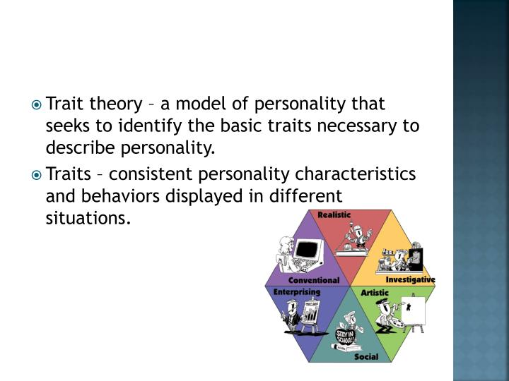 an overview of the trait model of personality Trait theory of leadership the trait model of leadership is based on the characteristics of many leaders - both successful and unsuccessful - and is used to predict leadership effectiveness the resulting lists of traits are then compared to those of potential leaders to assess their likelihood of success or failure.