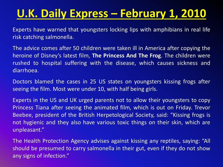 U.K. Daily Express – February 1, 2010
