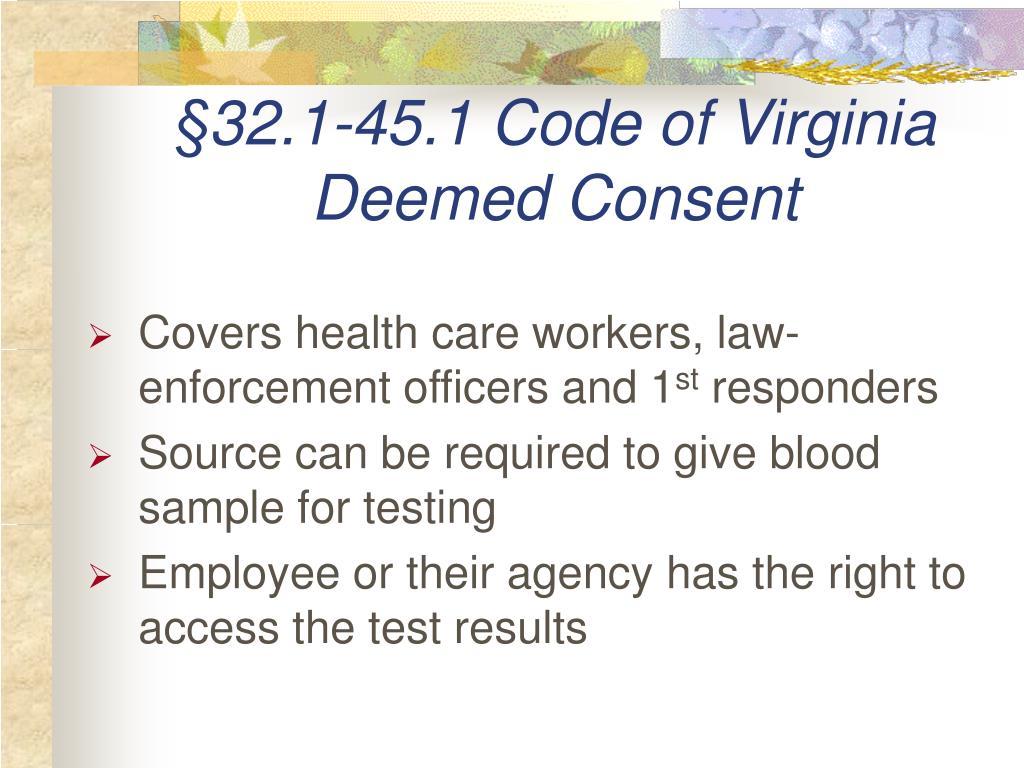 §32.1-45.1 Code of Virginia
