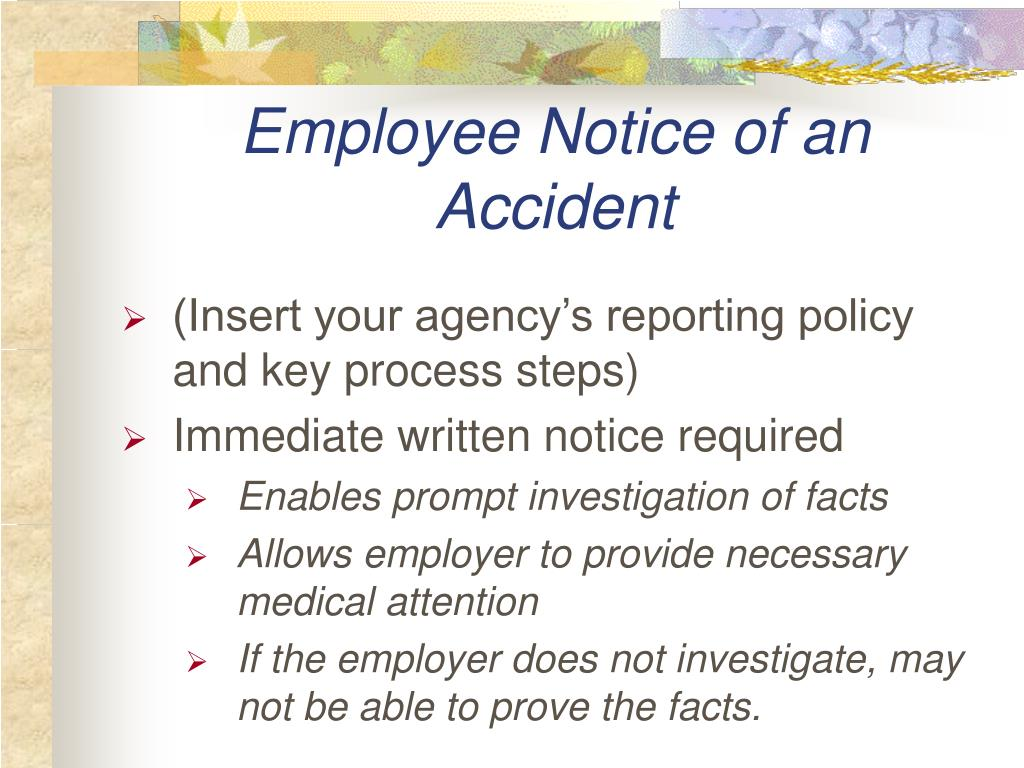 Employee Notice of an Accident