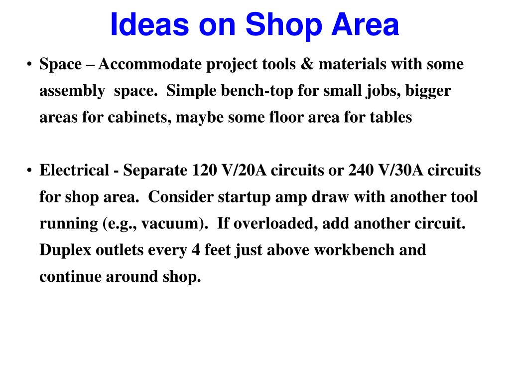 Ideas on Shop Area