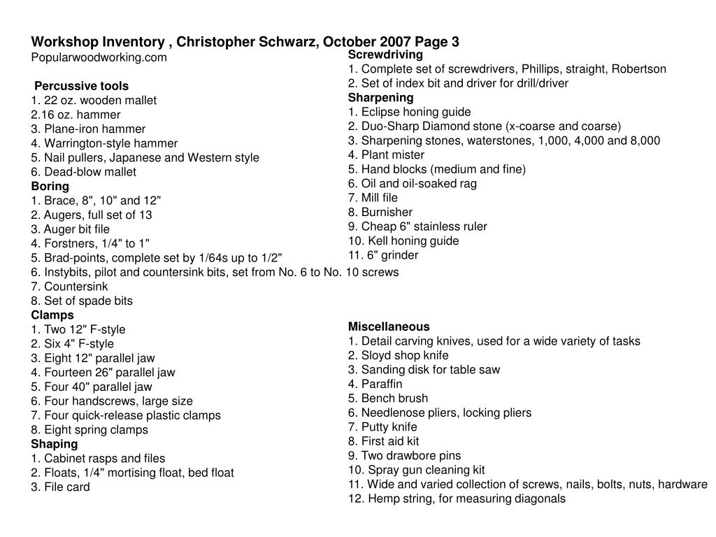 Workshop Inventory , Christopher Schwarz, October 2007 Page 3