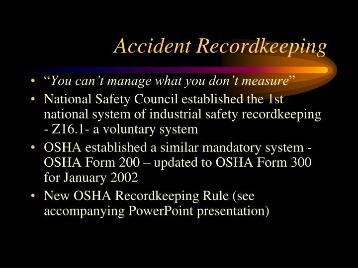 Accident Recordkeeping