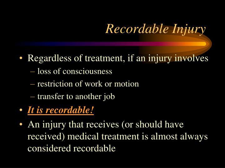 Recordable Injury