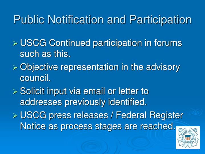 Public Notification and Participation