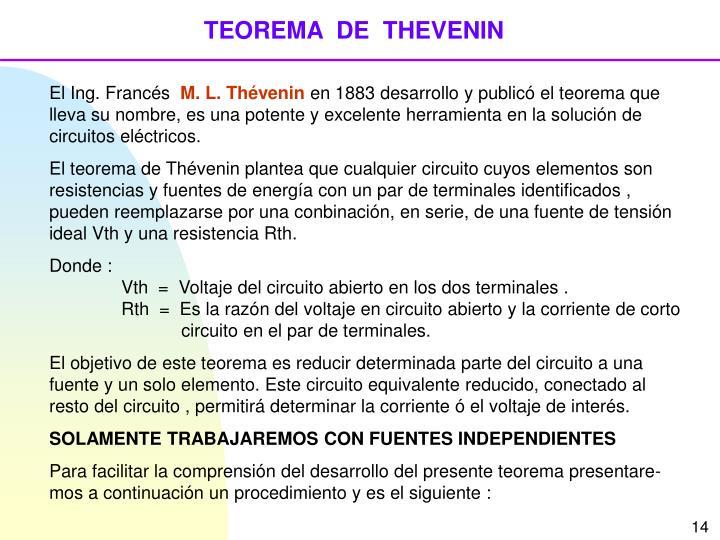 TEOREMA  DE  THEVENIN