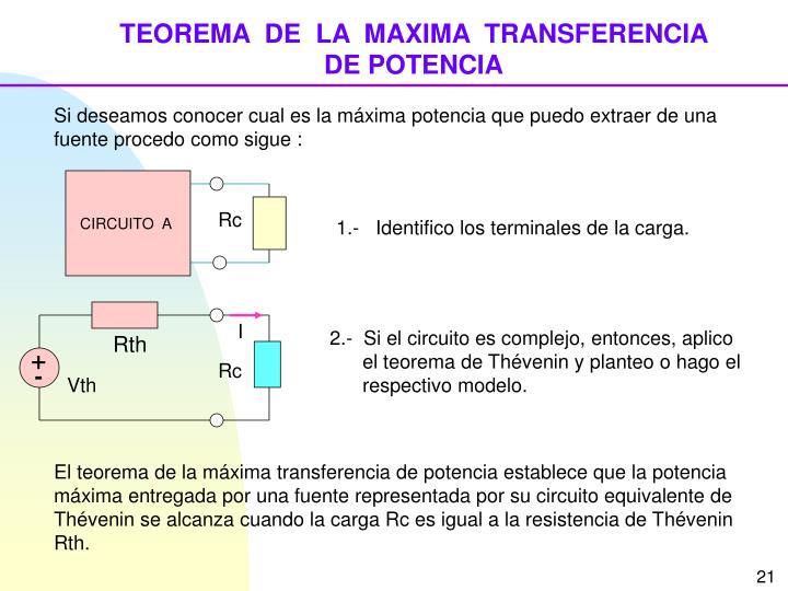 TEOREMA  DE  LA  MAXIMA  TRANSFERENCIA    DE POTENCIA
