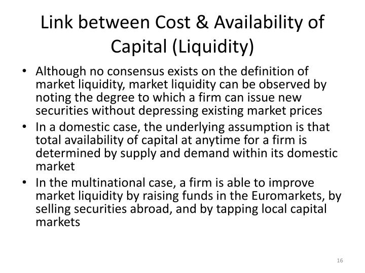 Link between Cost & Availability of Capital (Liquidity)