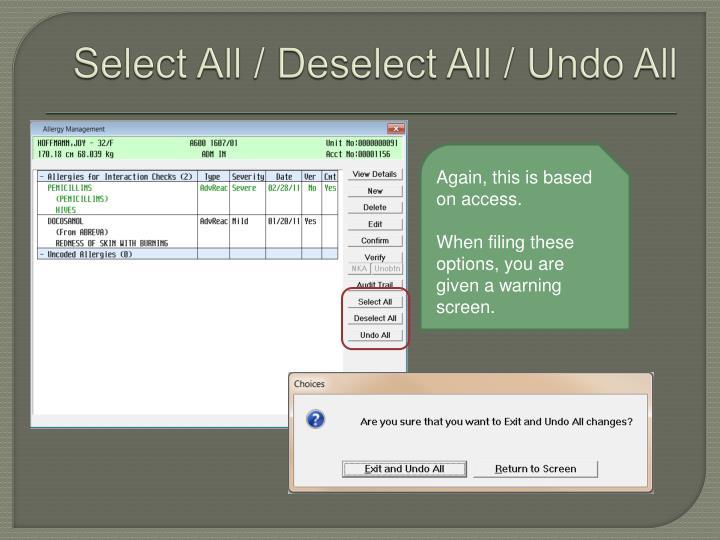 Select All / Deselect All / Undo All
