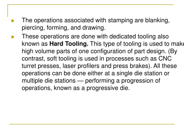 The operations associated with stamping are blanking, piercing, forming, and drawing.