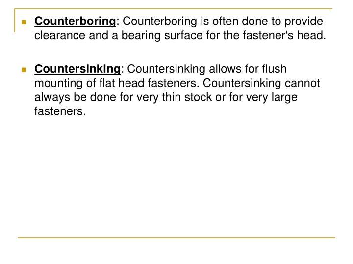 Counterboring