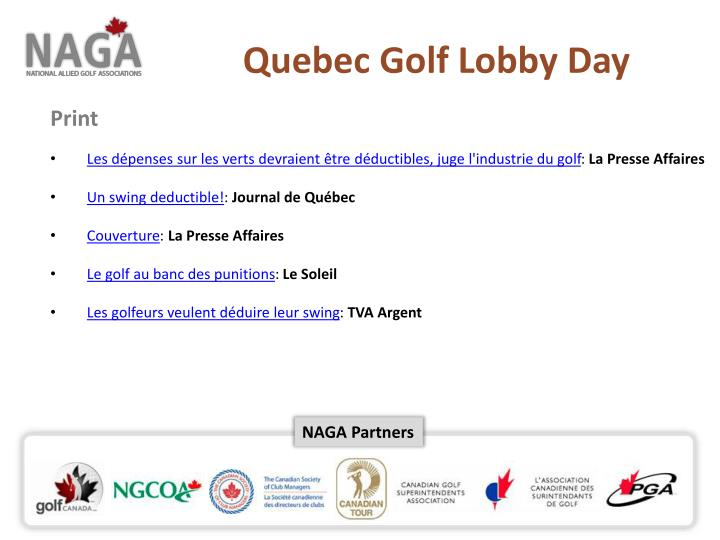 Quebec Golf Lobby Day