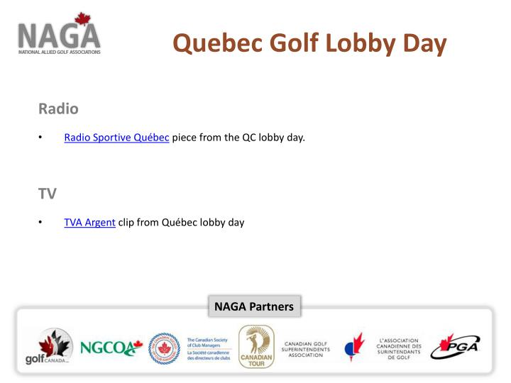 Quebec Golf Lobby Day