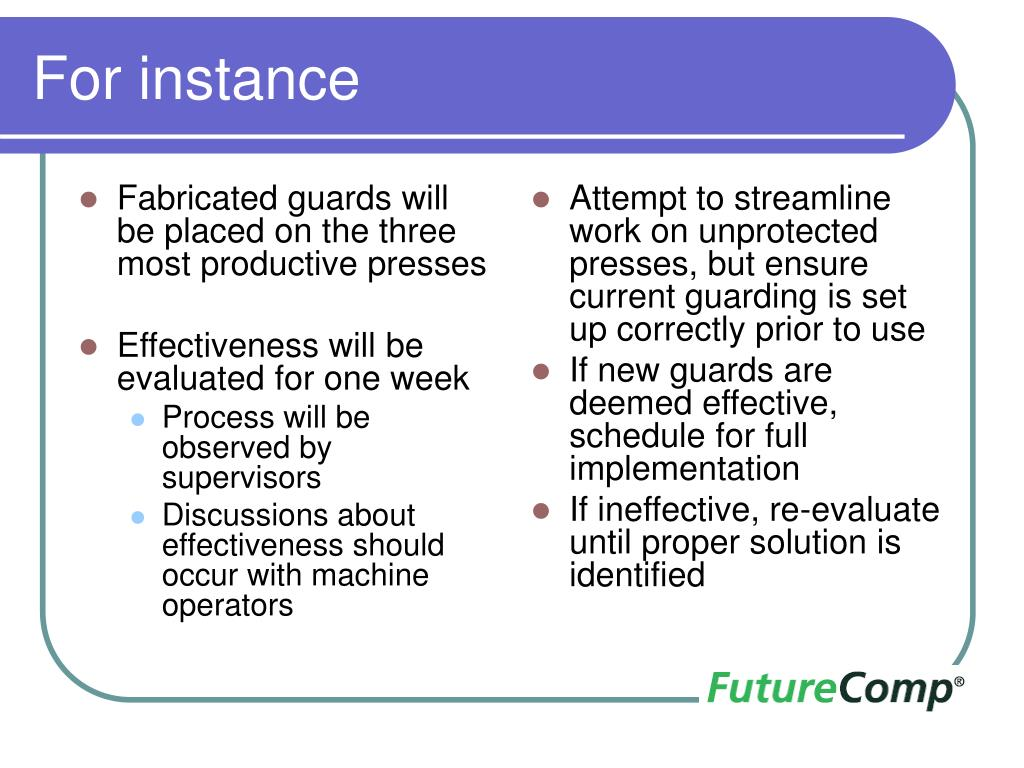 Fabricated guards will be placed on the three most productive presses