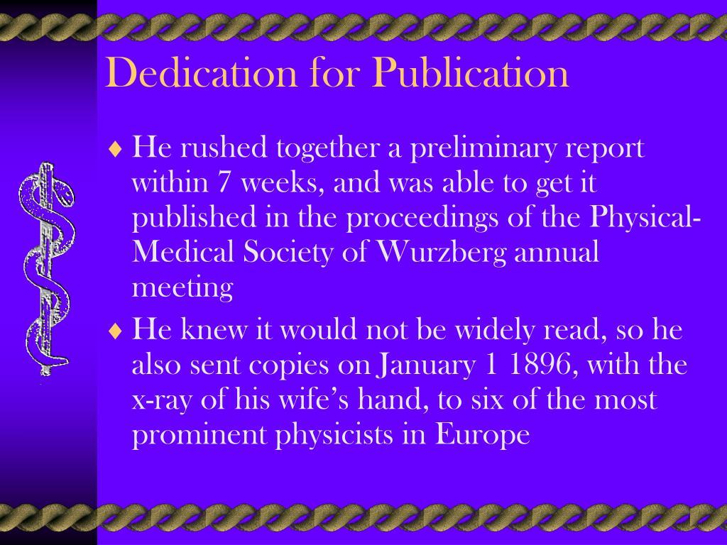 Dedication for Publication