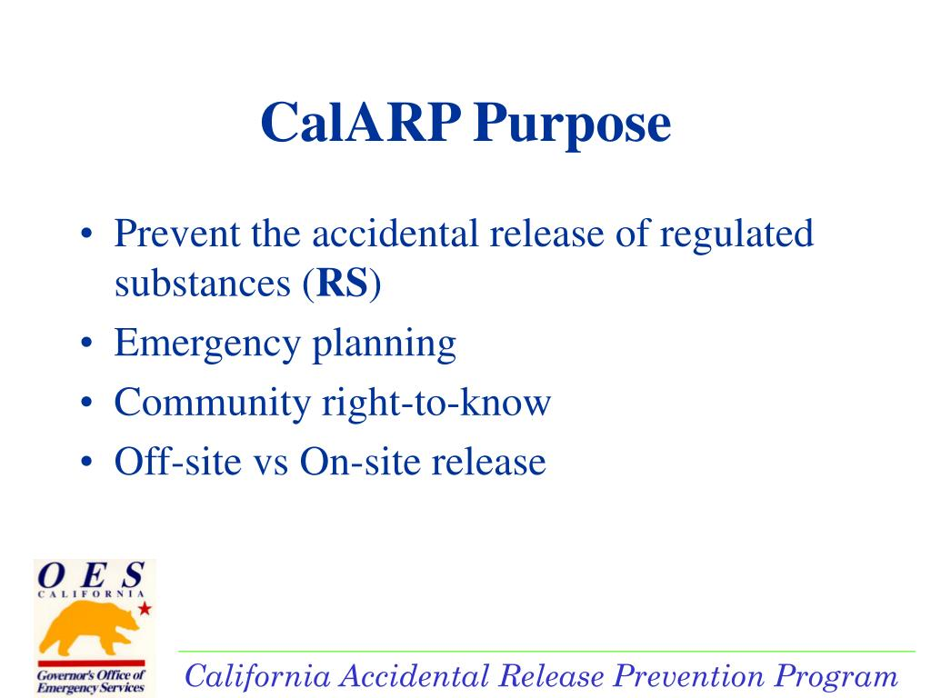 Prevent the accidental release of regulated substances (