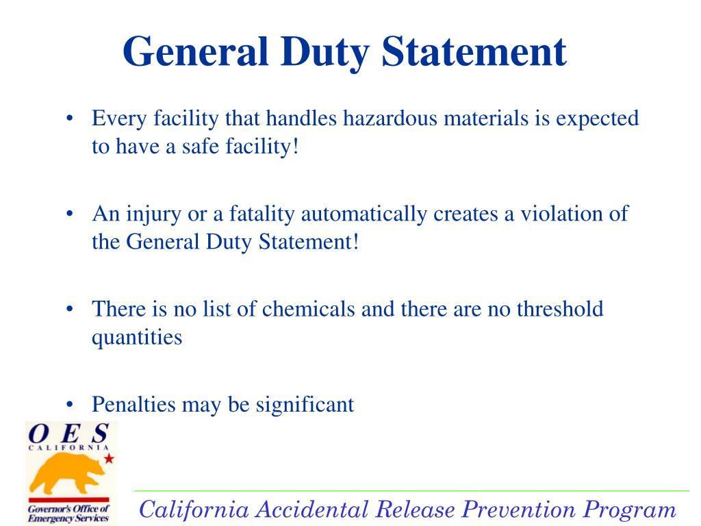 General Duty Statement