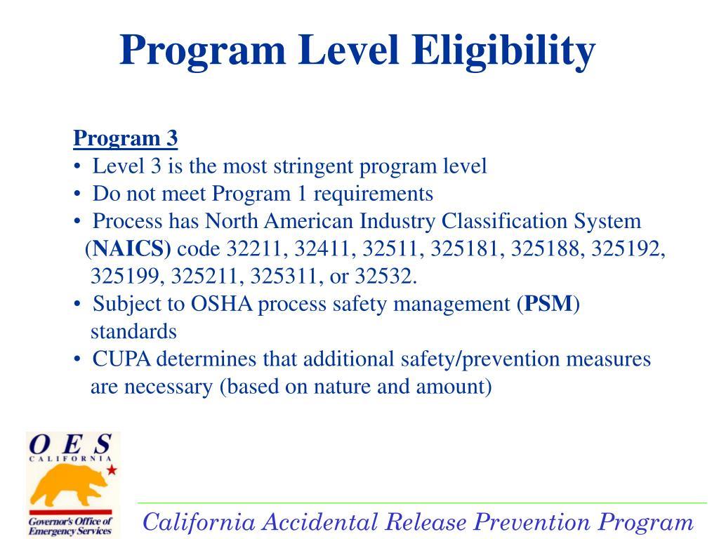 Program Level Eligibility
