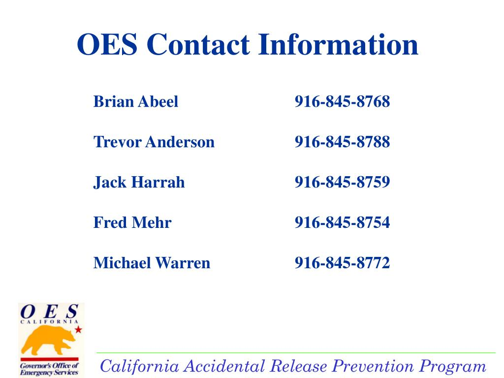 OES Contact Information