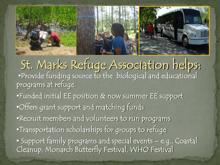St. Marks Refuge Association helps: