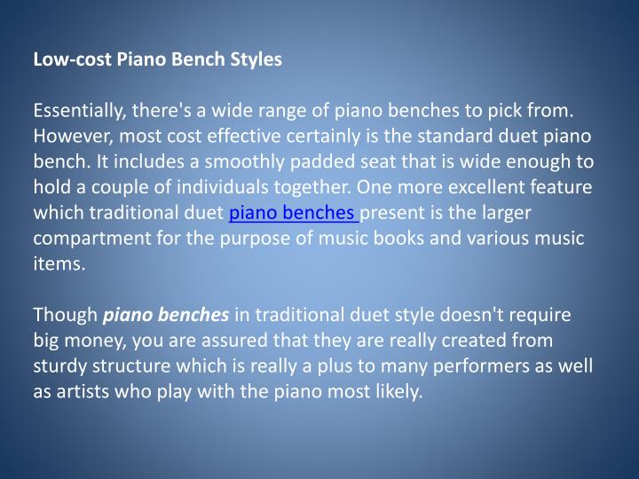 Low-cost Piano Bench Styles